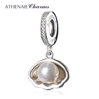 ATHENAIE 925 Sterling Silver Ariel S Shell White Pearl Clear CZ Pendant Bead Charms Fit Bracelets