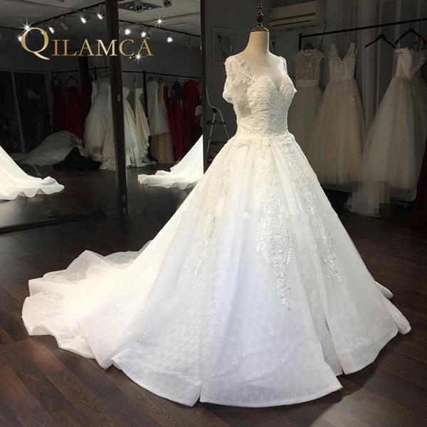 Real Photo Ball Gown Bröllopsklänning 2018 Brudklänningar Custom Size & Färg Vestidos de Noiva Kortärmad Mantelklänning