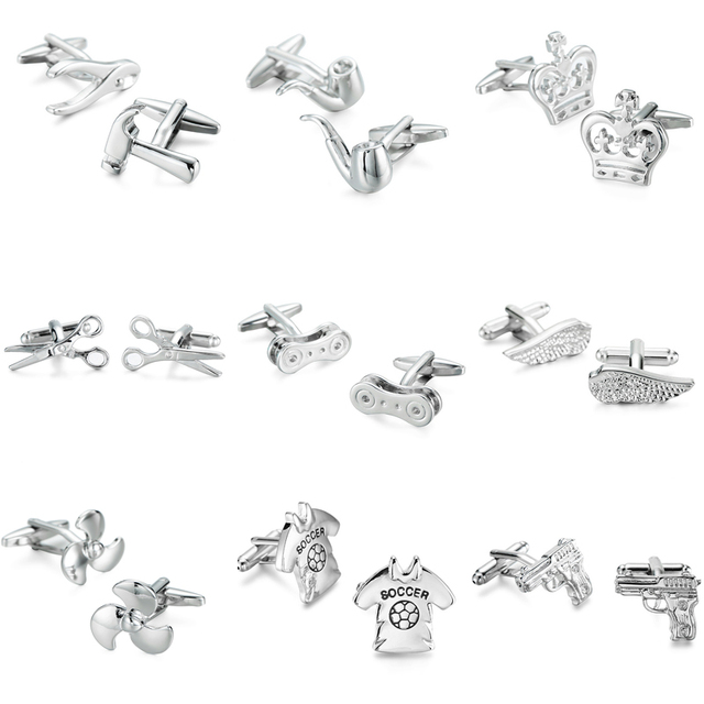 Wn Style Stainless Steel Plated Silver Cufflinks High-quality French Shirt