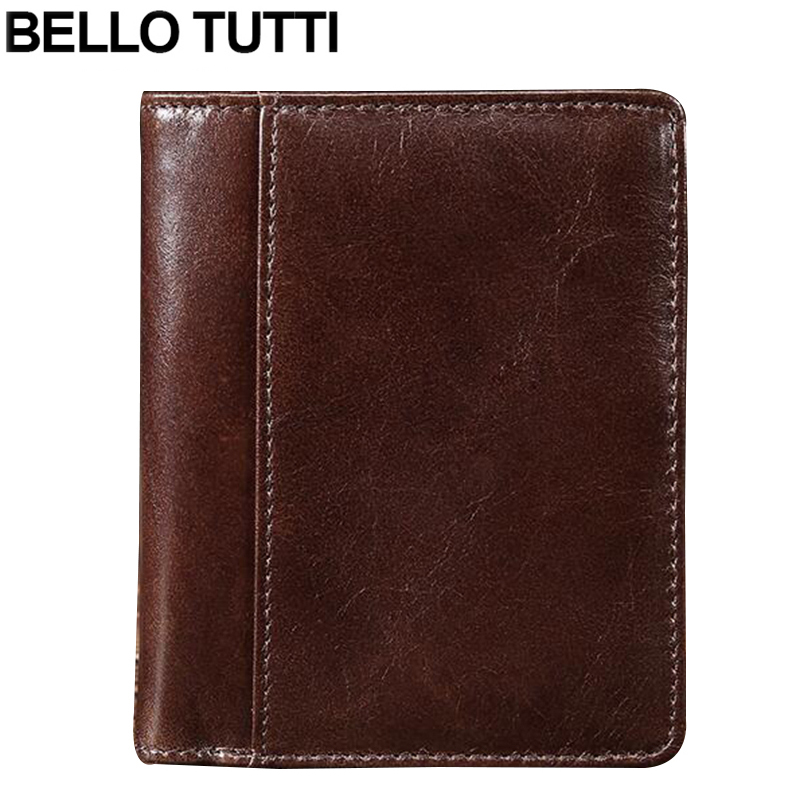 BELLO TUTTI Vintage Genuine Leather Wallet for Men's Bifold Wallet ID Card Holder Coin Purse With Zipper Short Wallet Mens mens wallets black cowhide real genuine leather wallet bifold clutch coin short purse pouch id card dollar holder for gift