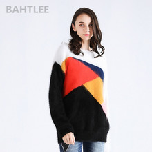 ネック保温多色パッチワーク 秋冬女性のアンゴラウサギニットプルオーバーセーター長袖 o BAHTLEE