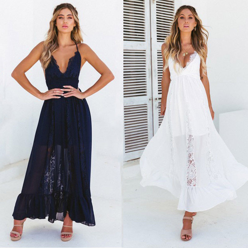 <font><b>Women's</b></font> <font><b>Summer</b></font> <font><b>Boho</b></font> Lace Long <font><b>Dress</b></font> <font><b>2018</b></font> New Lady Chiffon Evening Party Beach Maxi <font><b>Dress</b></font> Sundress Deep V-neck Suspenders <font><b>Dresses</b></font> image