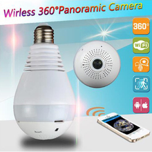 лучшая цена 1080P Wi-Fi FishEye Camera 360 degree Bulb Light VR Camera 3.0 MP Panoramic Wireless IP Camera Night Vision V380 Lamp Camera