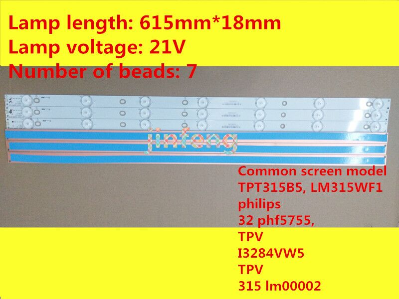 20pcs Genuine LED TV Backlight Strip New Lamp For GJ-2K16 D2P5-315 D407-V1.2(17mm) Repair Replacement Part 7 LEDs 61.4cm
