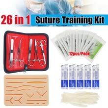 26 en 1 Kit de formation chirurgicale de Suture de peau médicale Silicone Pad aiguille ciseaux Silicone + acier inoxydable doux facile à utiliser