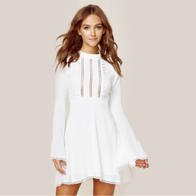 Flare Sleeve Elegant hollow out lace dress women Half sleeve summer style midi white dress 2018 Spring short casual dress vestid