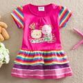 New 3-7Y Children Girls Dress Cartoon Fashion Little Pony Baby Girls Summer Short Sleeve Clothes