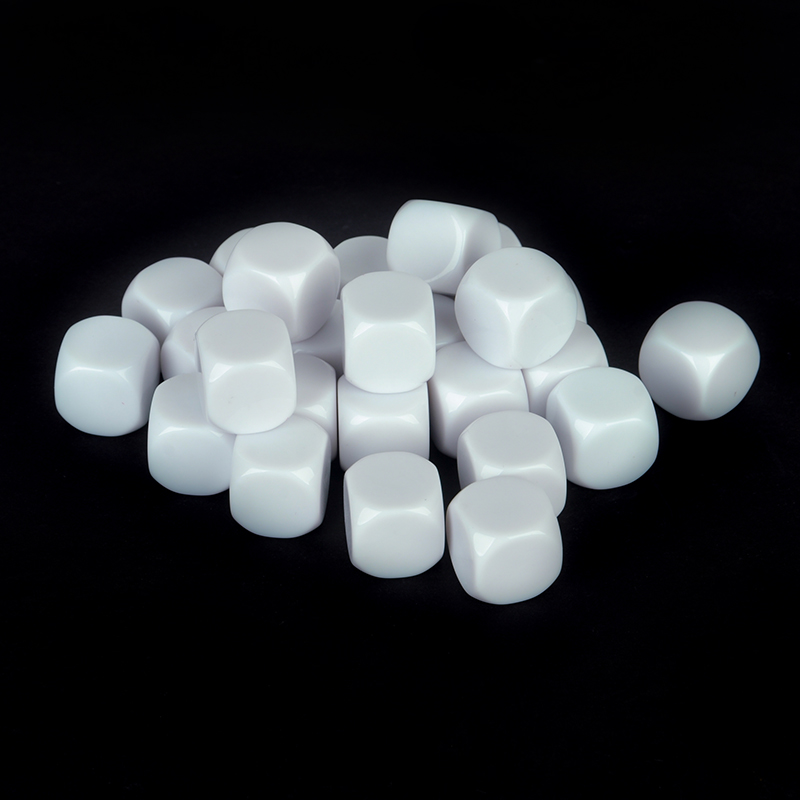 25pcs/Set White Standard Size Blank Dice D6 Six Sided Acrylic RPG Gaming Dice 16mm for Boardgame And Other Game Accessories