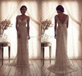 High Quality 2017 Vintage Sheath Wedding Dresses Sheer Anna Campbell Lace Bridal Gowns Lace Backless Church Wedding Custom Made