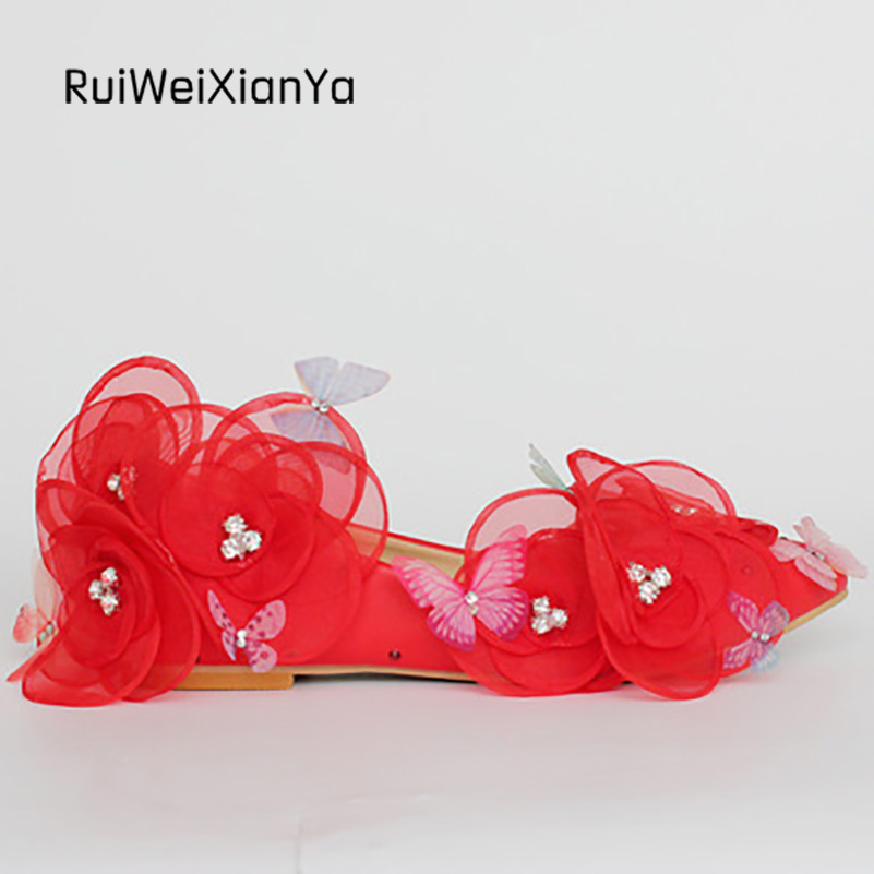 2017 New Arrive Spring Zapatos Mujer Ladies Party Shoes Women's Flats Sweet Flowers Red Wedding Shoes for Bridal Plus Size Hot 2017 new fashion spring ladies pointed toe shoes woman flats crystal diamond silver wedding shoes for bridal plus size hot sale