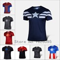 2016 Moda Comic Superhéroe Deadpool Marvel T shirt Traje Ropa Deportiva de Compresión de Fitness Camisetas Masculinas de Secado rápido