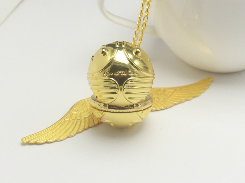 Golden Snitch Ball Pendant Pocket Watch Gifts For Kids Quartz Necklace Clock Lovely Cute Fob Pocket Clock Reloj De Bolsillo Gift