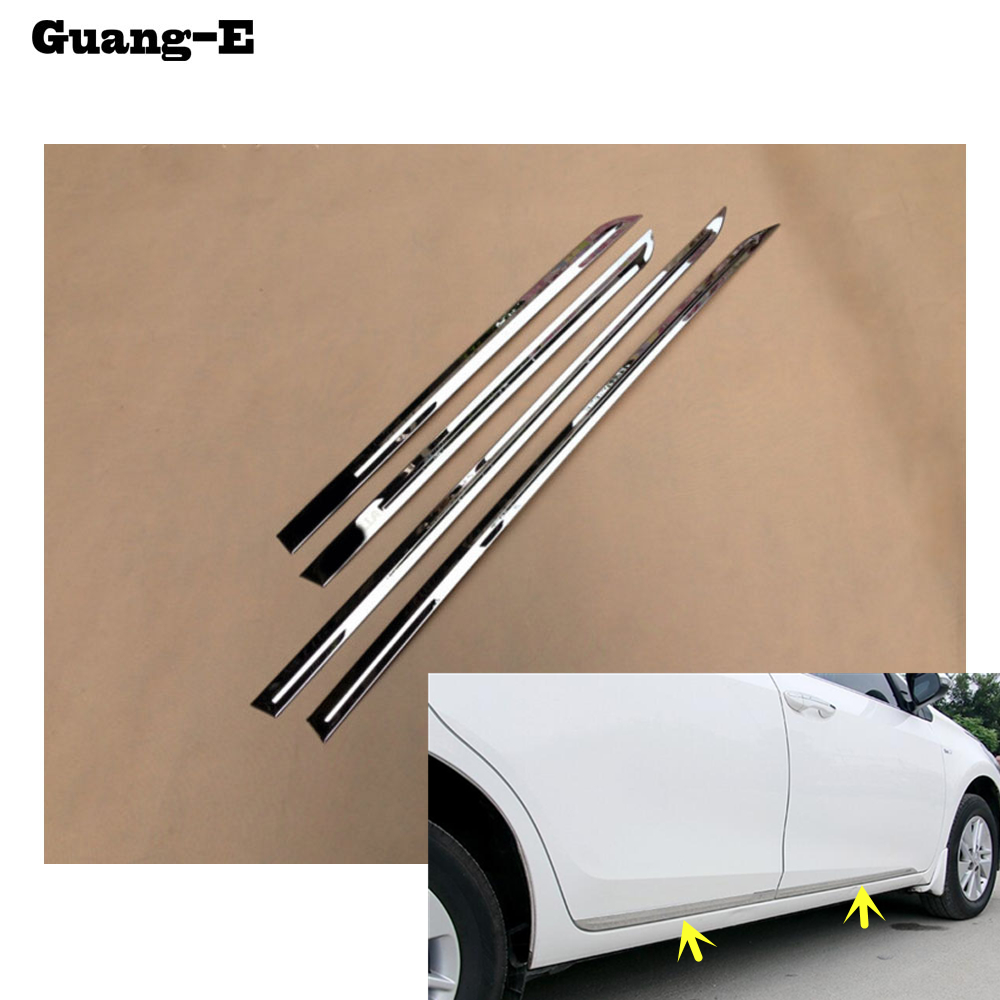 car styling stainless steel Side Door Body trim stick Strip lamp panel Molding 4pcs for Toyota Corolla Altis 2014 2015 2016