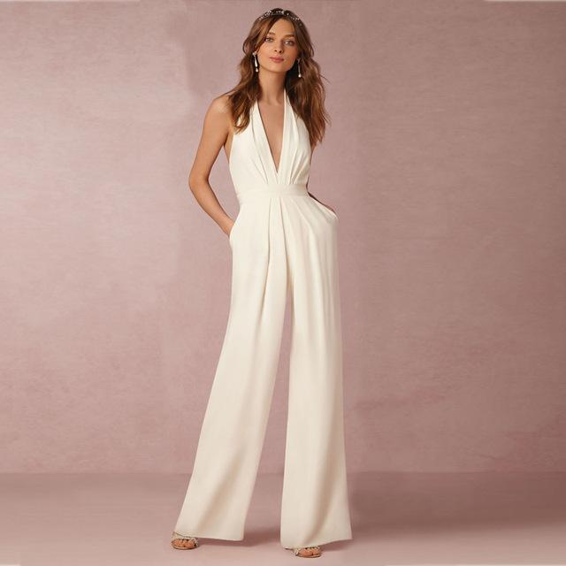 Mulheres sensuais Sem Mangas Bandage Bodycon Backless Jumpsuit Romper Calças Clubwear Noite Branco Elegante Combinaison Femme