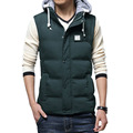 2016 new arrival hot sale winter men's casual down cotton hooded padded vest Solid men down vest plus size m-3xl 65