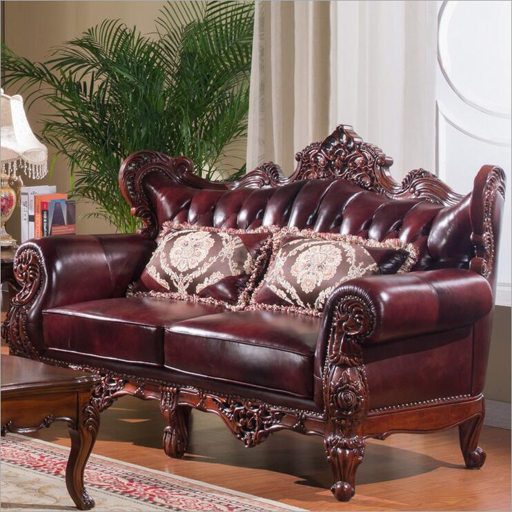 High Quality European Antique Living Room Sofa Furniture Genuine Leather Set P10289