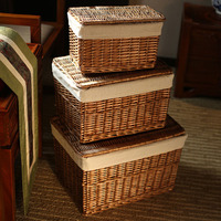 Classic Handwoven Household Storage Wicker Basket with Lid for Clothes Sundries Pastoral Home Rattan Laundry Basket with Liners