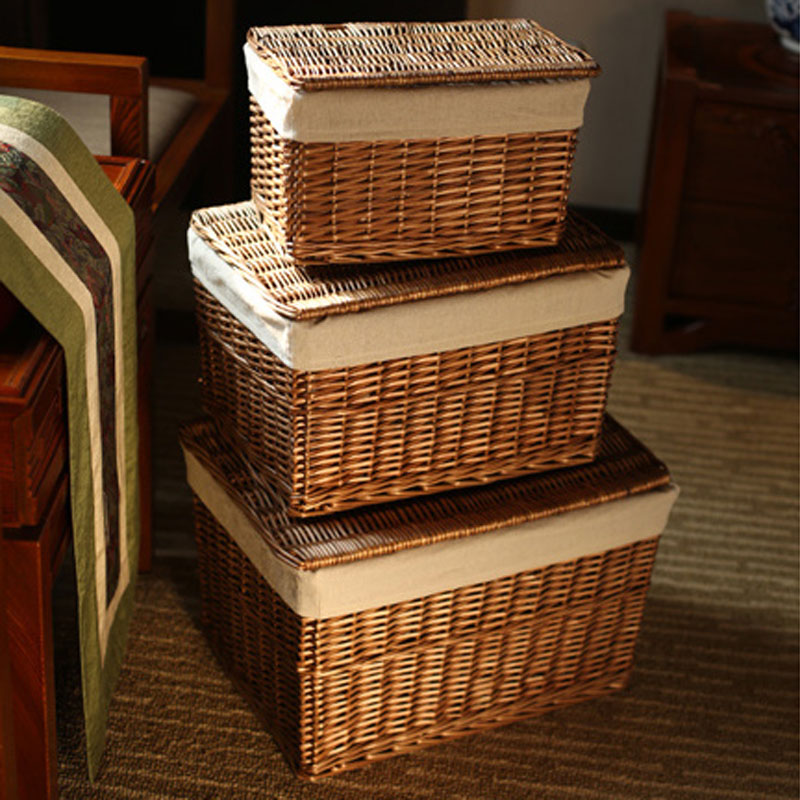 Classic Handwoven Household Storage Wicker Basket with Lid for Clothes  Sundries Pastoral Home Rattan Laundry Basket