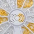 1 коробка золотистых и серебристых гвоздиков с смешанными дуговыми узорами, 3D украшения для ногтевого дизайна, маникюрные украшения «сдела...