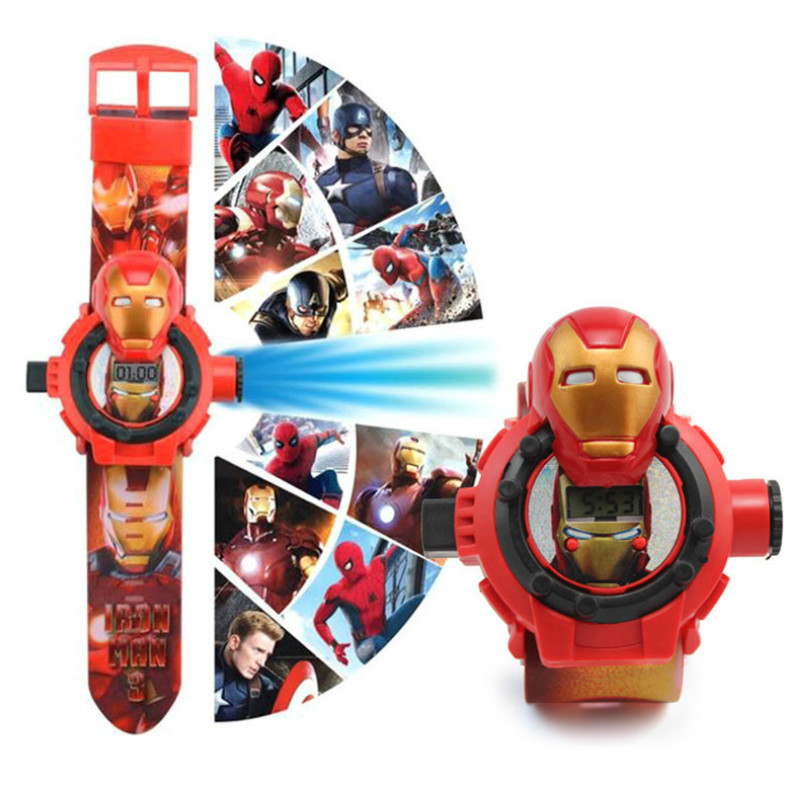 N002 Spiderman Ironman Captain America  Electronic Projection Students Table Toys For Children Watch Toys Kids Watch
