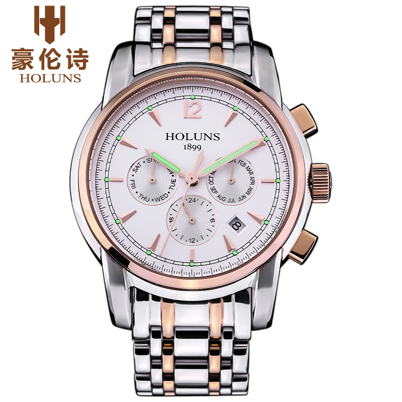 LUXURY Men Business Top Brand full stainless Steel Quartz-Watch Chronograph Luminous Date Clock Men's Fashion Casual wrist watch