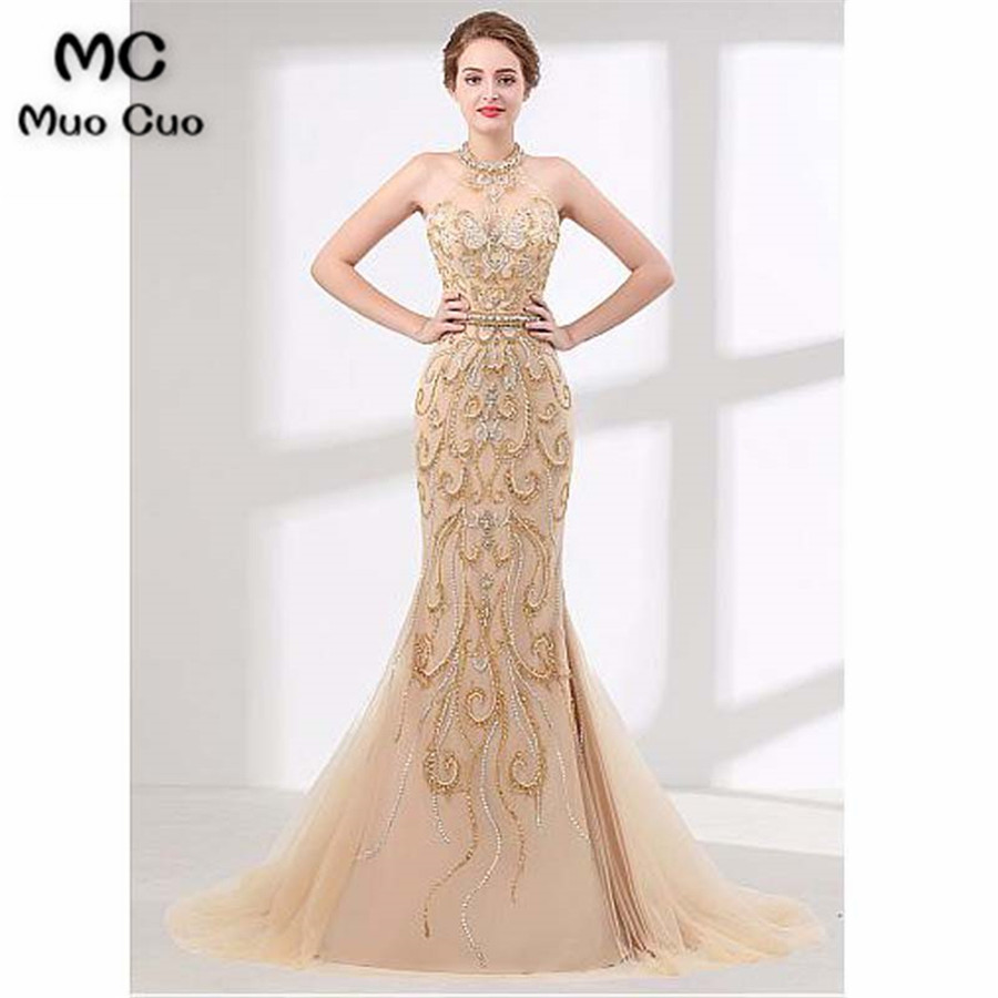 Luxuries 2018 New Mermaid Prom Dresses Long Crystals Beaded Long Graduation Dresses Tulle Halter Evening Prom Dress