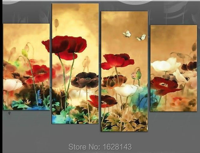 High Quality 4 pieces Canvas Oil Painting Landscape Red Flower Lotus ...