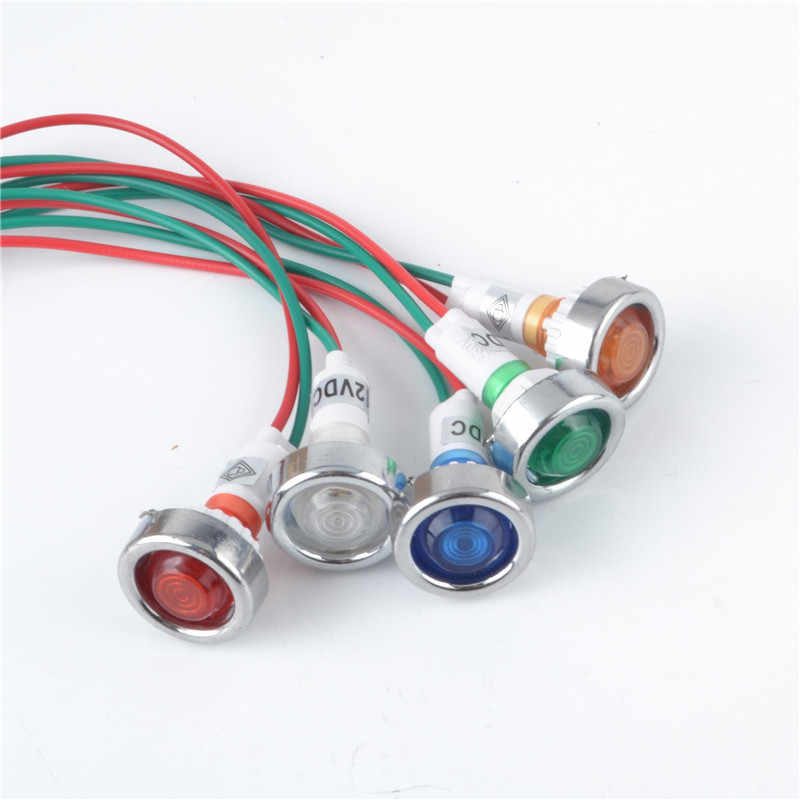 10mm 12VDC Car Truck Boat Metal LED Indicator Dash Light with Wire Yellow