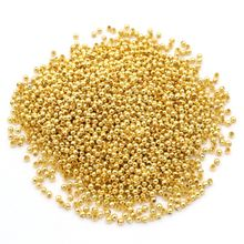 500pcs/lot Gold Silver Metal Round Ball Shape Loose Spacer Beads For Jewelry Finding Diy Making Accessories Wholesale Supply