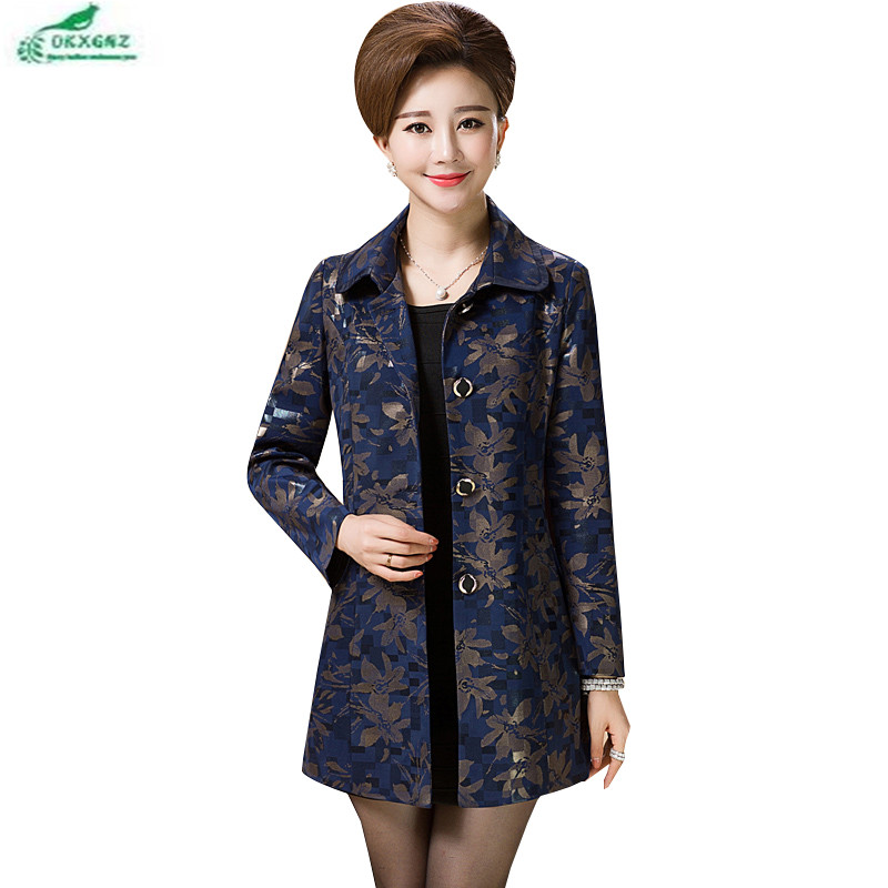 Middle-aged women coat 2017 new large size L-4XL high-end Outerwear long section of the collar printed floral autumn OKXGNZ Q884