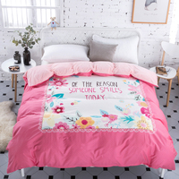Winter bedding sets warm pink flower cotton+crystal velvet duvet cover twin full queen size bedclothes kid adult home textiles
