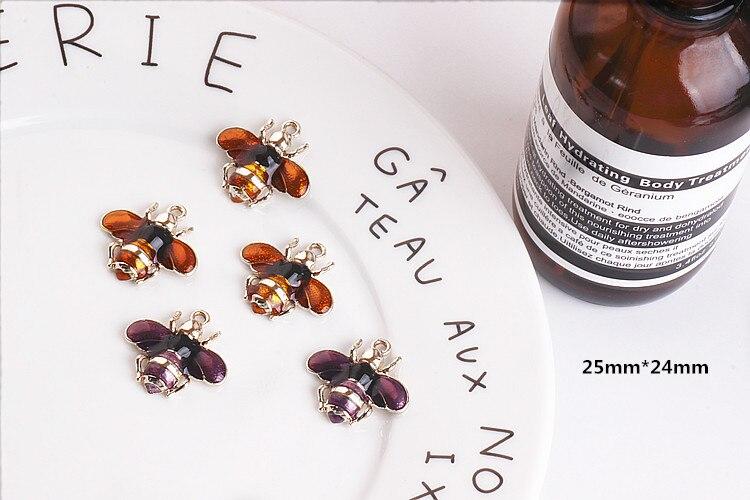 Мини-заказ 10 шт. 25*24 мм Эмаль животных пчелы кулон Талисманы золото Цвет покрытием капли масла сплав металла ювелирные изделия Цепочки и оже...