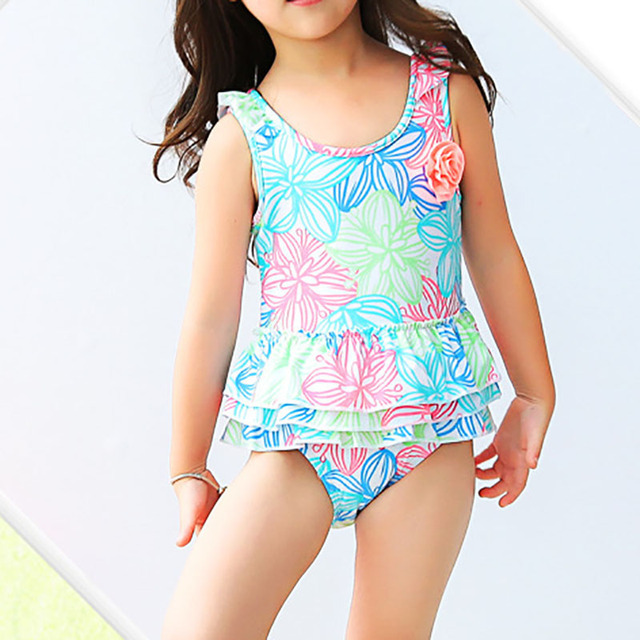 1a52c8ef15 Cute Big Kids One Piece Swimsuit Girls Colorful Floral Printed Swimwear  Ruffled Skirted Children Bathing Suit