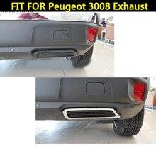 2PCS ABS Hinten Auspuff Schwanz Ende Rohr Abdeckung für Peugeot 3008 5008 Zugang Aktive Allure 2017 2018 2019 auto Styling