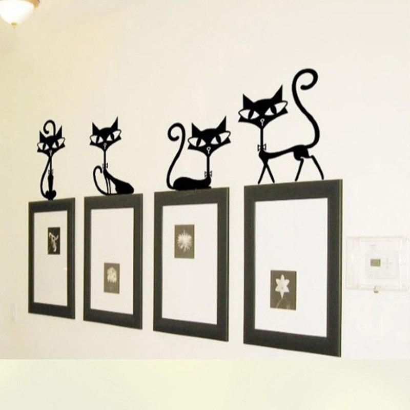 Прекрасный 4 Черный Симпатичные Товары для кошек стены Стикеры Модер Cat Наклейки на стену Обувь для девочек винил Домашний Декор милый кот Г...