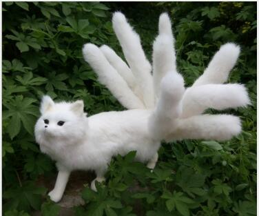 WYZHY Simulation fur animal white fox nine tail handmade home decoration photography props 35X23CM