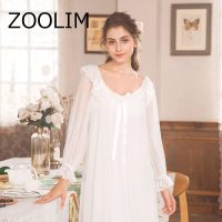 ZOOLIM 2018 Spring Summer Princess Nightgowns Women's Long Robe and White Sexy Vintage Lace Pyjama Sleepwear Nightdress
