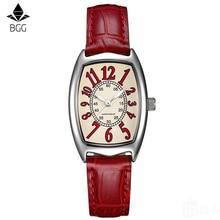 Часы Для женщин BGG Марка Красный Элегантный Ретро часы модные женские кварцевые часы Для женщин Повседневное кожа Для женщин Наручные часы