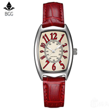 Klocka Kvinnor BGG Märke Röd Elegant Retro Klockor Mode Ladies Quartz Klockor Klocka Kvinnor Tillfälligt Läder Klockor Klockor