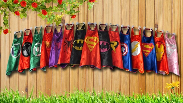 Superhero Capes Superman Spiderman Batman Captain America Ironman Robin Flash- Party Favors - Customize logo-mono - Layer Cape