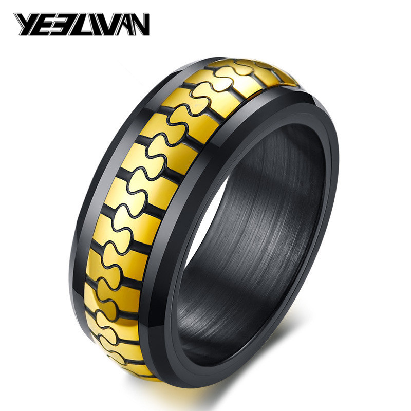 Jewelry & Accessories New Punk Zipper Shape Mens Rings High Quality Titanium Steel Spinner Biker Rings For Man Fashion Black Gold Rings Anello Uomo