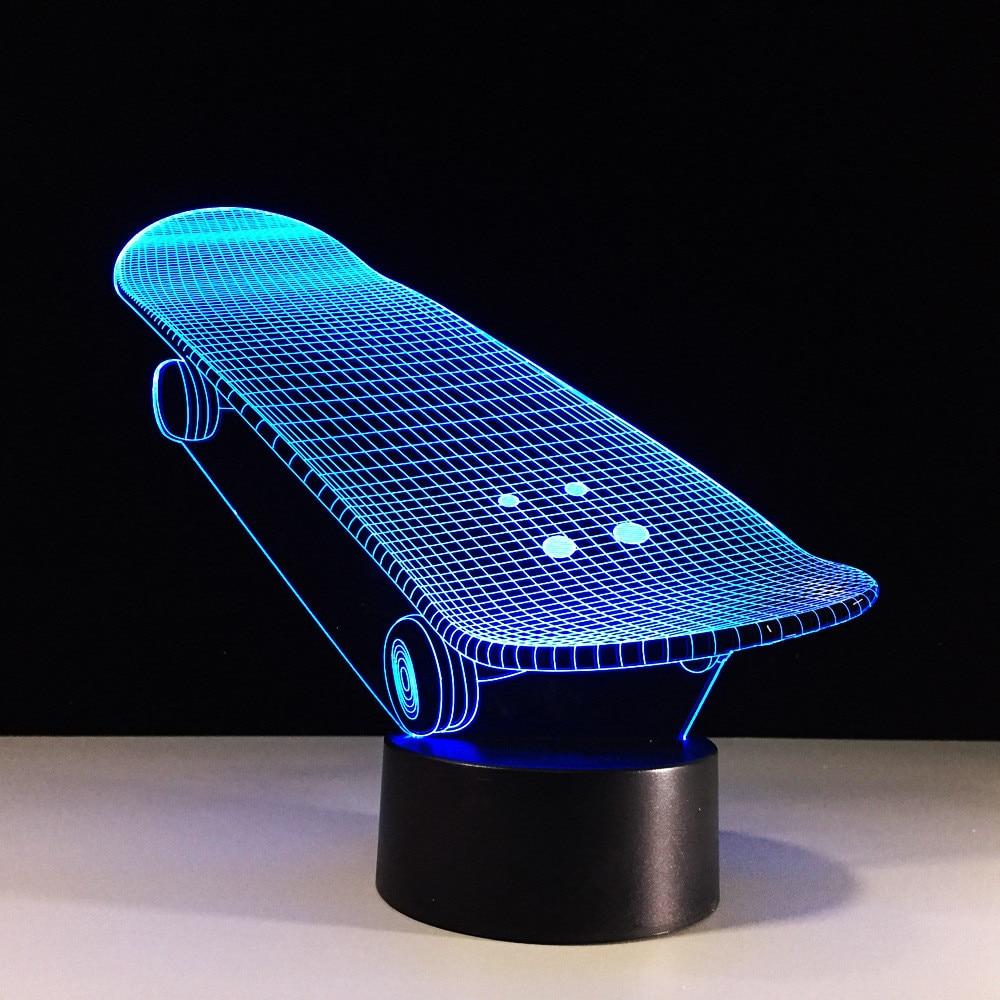7 Color 3D Led Nightlight Lampada Skateboard USB Light Creative Lampada Da Tavolo Christmas Children Gifts Decor Light Fixture