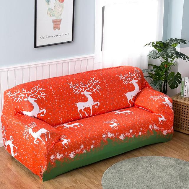 Sofa Slipcovers Christmas Elk Printed Stretch Polyester Fibre Sofa Cover  Furniture Protector Cover Living Room