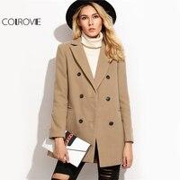 COLROVIE Camel Double Breasted Winter Coat Women Elegant Brief Lapel Long Sleeve Coats 2017 Autumn Welt