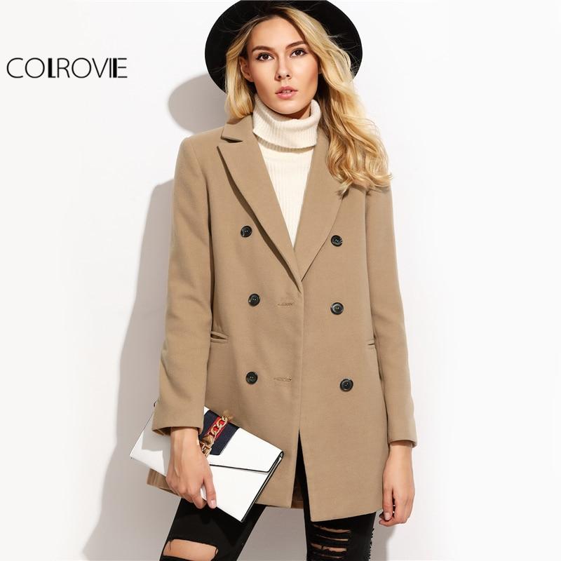 Colrovie верблюда двубортный зимнее пальто Для женщин элегантный краткое с лацканами пальто с длинными рукавами Осень прорезной карман Винтаж ...