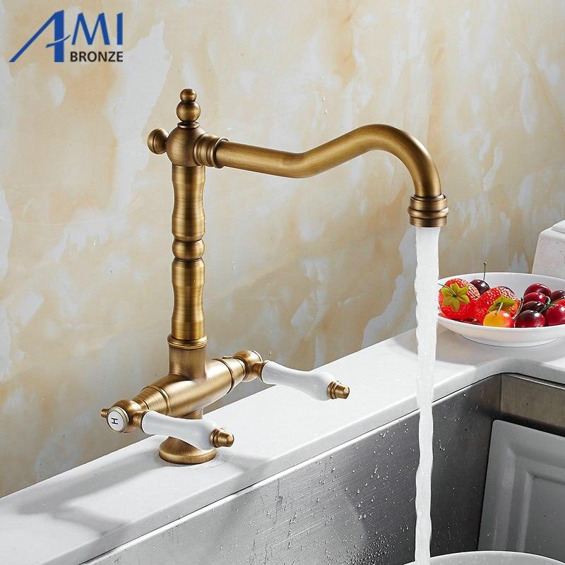 360 Swivel Kitchen Faucet Antique Brass Chrome Polish Double Handle Bathroom Basin Sink Mixer Tap Faucets