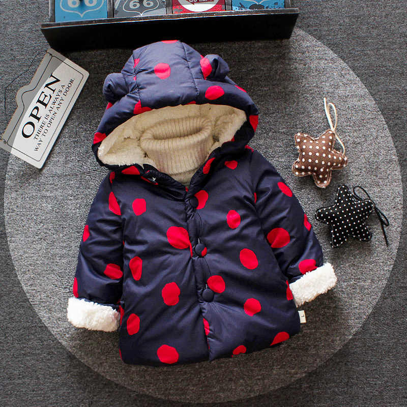 Girl Baby Winter Coats New Infant Baby Kids Fashion Thick Plus Velvet Cotton-padded clothes Toddler Baby Girls Warm Hooded Coats