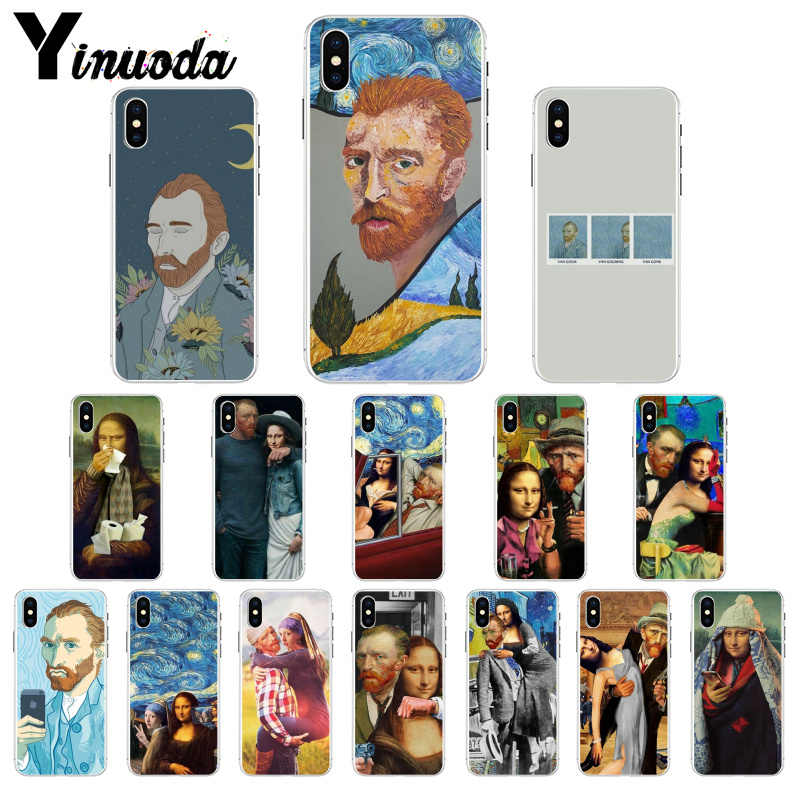 Yinuoda Van Gogh Mona Lisa Funny Art TPU Soft Silicone Phone Case for iPhone X XS MAX 6 6S 7 7plus 8 8Plus 5 5S XR