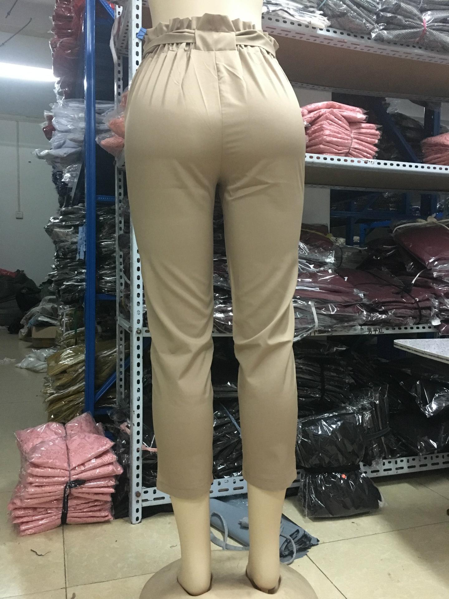19 New Brand High Elastic Waist Harem Pants Women Spring Summer Fashion Ninth Pants Female Office Lady Black Trousers Belt 12