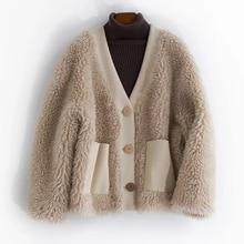 Natural Lamb Fur Coat Women Clothes 2019 New Arrival Fall Winter V-neck Genuine Sheepskin Fluff Jacket Womens Real Wool Fur Coat